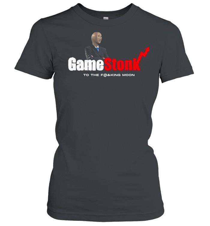 Meme Man With Gamestonk Game To The Fucking Moon shirt Classic Women's T-shirt