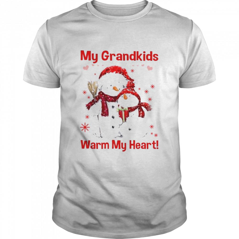 Snowman my grandkids warm my heart Christmas shirt